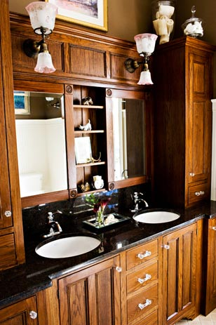 Roger Wright's Custom Cabinets in the Hall Bath