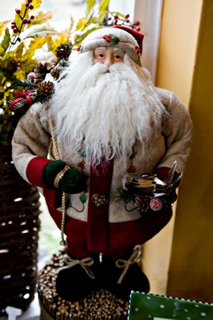 Ole Kris Kringle and many other festive decorations delight at The Pear Tree in Wayne.