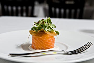 Blackfish's Signature Appetizer House smoked Scottish Salmon, crispy potatoes, deep fried egg, crème fraiche