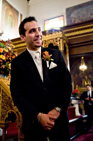 "Waiting for his bride, Nick recalls ""I was speechless. I was savoring every moment."""