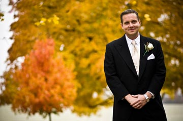 Fall Guy<br>Groom Will Tucker of Bryn Mawr on his wedding day, November 8, 2008.