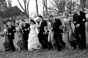 The wedding party letting loose on the sprawling grounds of Cairnwood, built in 1895.  The property is the original country estate of John Pitcairn, founder of Pittsburgh Plate Glass and business associate of Cornelius Vanderbilt and Andrew Carnegie.