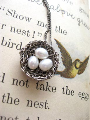 From expectant mothers to brides and soon-to-be empty nesters, Precious Meshes' most popular design is the line of these individually crafted bird's nest earrings and necklaces. (preciousmeshes.etsy.com)