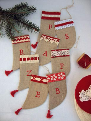 Shipley Shops is a popular tradition that brings together premier retailers and artists from throughout the United States and attracts customers from within and well beyond the Shipley community. Pictured are stockings from Shops' vendor Boxwood Linens.