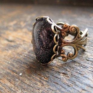 Midnight in Forks ring, $20. Vintage Brass Filigree Blue Goldstone Ring