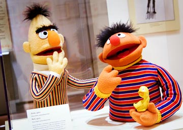 Two of Sesame Street's most famous characters: Bert (played by Frank Oz) and Ernie (played by Henson)