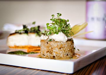 Pan Seared Halibut, Sushi Rice Stuffed with Lump Crabmeat