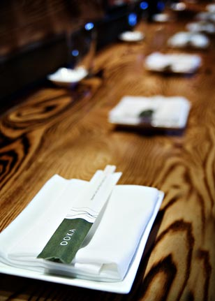 Clean lines dominate the soothing and simple interior at Ooka.