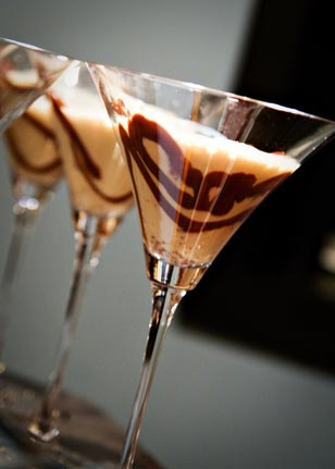 Decadent and delicious French Silk Pie martinis were made with Godiva liquor.