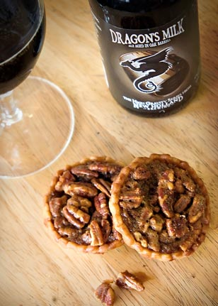 A wonderful winter dessert awaits with New Holland's Dragon Milk and Chef Patrick's delectable mini pecan pies.
