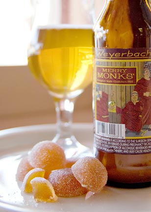 Weyerbacher's Merry Monks' is the perfect complement to Gauthron's white peach fruit paste.