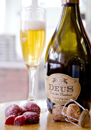 DeuS is a premium Belgium beer that complimented Gauthron's raspberry fruit paste.