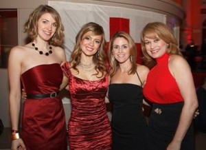 Lovely ladies from 6ABC dressed the part for the Red Ball last year. L to R: producers Mara Webb and Kristie Gonzalez, health reporter Ali Gorman and anchor Monica Malpass.