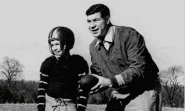 Ed Sabol, a Philadelphia clothing salesman by trade, with his young son. Ed used a 1940's Bell and Howell movie camera to film Steve's football games at Haverford School starting in 1951. Photo published with the consent of Steve Sabol/NFL Films