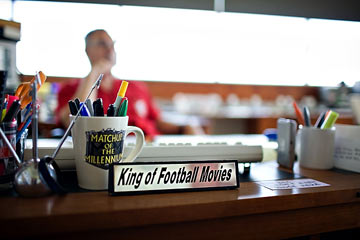 The 'King of Football Movies' reflects in his office.
