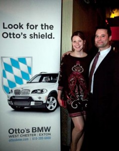 Otto's BMW general manager Michael Vadasz with his guest Ashleigh Otto's was the corporate sponsor of Be Mine on the Main Line II.
