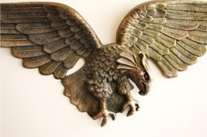 """Fly Like an Eagle. From Robson's personal collection, an extra large 48"""" vintage cast metal wall eagle, $125"""