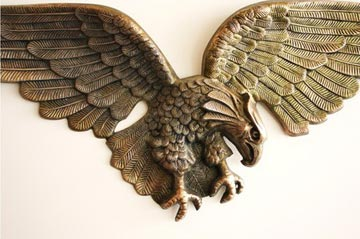 "Fly Like an Eagle.  From Robson's personal collection, an extra large 48"" vintage cast metal wall eagle, $125"