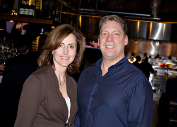 The staff of Bryn Mawr's Vertex Fitness was part of the fun group of AML fans at our MIXX Monday Night Meetup. Pictured are Kelly Peters McCauley and Vertex owner Dwayne Wimmer.