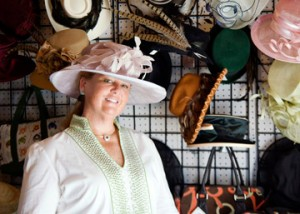 Hats by Katie's Katie Whelan at her Devon Horse Show booth beautifully modeling a one-of-a-kind creation.