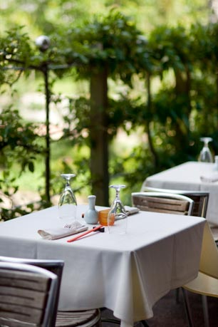 Nectar's beautiful outdoor deck overlooks an Asian garden. Photo courtesy of Courtney Apple Photography