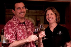 Seth and Val Castle of Black Walnut Winery toast to their success!