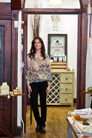 Shop owner Molly Cygan in her beautifully restored Manayunk boutique, The Little Apple.