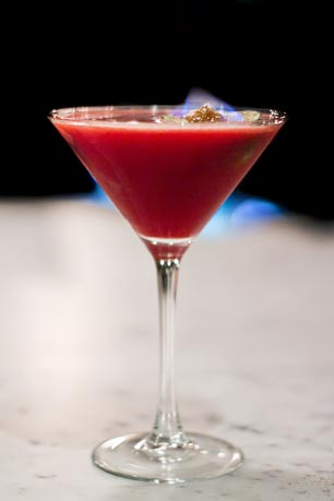 Bar Savona's Raspberry Fuego:  Stoli Razberi, House Infused Chipotle Vodka, Raspberry Purée, Fresh Lime, Up