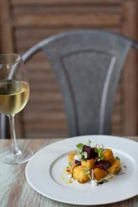Over 95% of White Dog's farm purchases are made from local farms located within 50 miles of the Main Line restaurant. Pictured: Lancaster Beets with Crème Fraiche, Goat Cheese Polenta 'Croutons', Balsamic Mignonette, Ricotta Salata