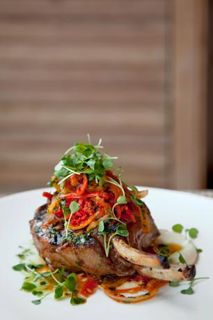 Balsamic Roasted Meadow Run Pork Chop (Sweet & Sour Peppers, Olive Oil Mashed Potatoes)