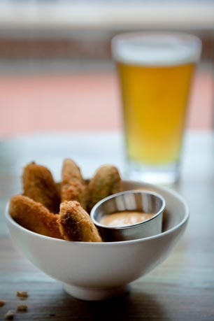 Fabulous fried pickles paired with a Victory Prima Pils-part of White Dog's bar menu.