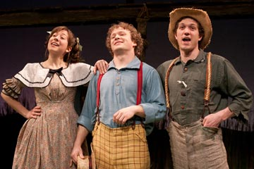 Rachael Joffred as Becky Thatcher, Jefferson Haynes as Tom Sawyer, and Brian Cowden as Huckleberry Finn in Mark Twain's The Adventures of Tom Sawyer, by Laura Eason, at People's Light & Theatre.