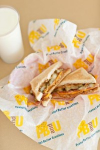 """PBandU promises: """"A one-of-a-kind peanut butter experience that's anything but ordinary."""" Pictured is a best seller: peanut butter, pickles, bacon and cheese"""