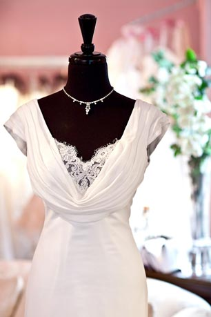Matthew Christopher's 'Diana' dress, designed before The Royal Wedding and ironically named, embodies the essence of Pippa Middleton's elegant bias-cut gown.  It's available at Paoli's Wedding Pavilion.