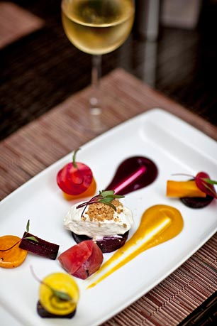 Ambler's popular Deterra Restaurant offers a 'A Tasting of Beets' with goat cheese spuma and toasted walnuts.