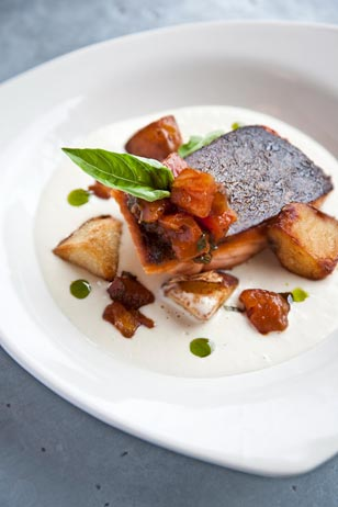 Silverspoon Café in Wayne offers several gluten-free options on their exciting, 3-course $30 Main Line Restaurant Week menu.  Pictured here is their gluten-free entree: Crispy Salmon – potato and leek soubise, roasted tomato basil compote