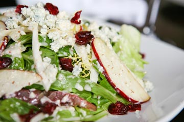 Fall Harvest Salad: Boston Bibb, Belgium Endive, Baby Greens, Birchrun Hills Farm Bleu Cheese, Apples, Sundried Cranberries & Hazelnut Vinaigrette