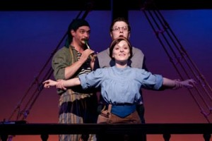 Andrew Kane, Michael Doherty, and Rachel Brennan in Kathryn Petersen's Treasure Island: A Musical Panto, with music and lyrics by Michael Ogborn. At People's Light & Theatre through January 8th. Photo by Mark Garvin.