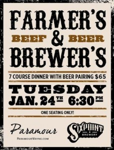 Wayne's Paramour restaurant is hosting a seven-course, mid-winter beer dinner on Thursday, January 24th, 2012 starting at 6:30 p.m.