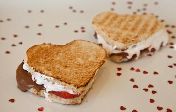 Pictured is PBandU's Sandwich of the Month: Chocolate Peanut Butter, Strawberries and Fluff!