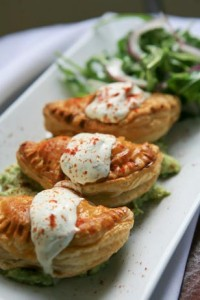 Delicious puffed pastry empanadas at The Gables.