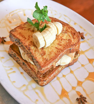 Peanut Butter and Banana French Toast with Star Infused Anise Honey