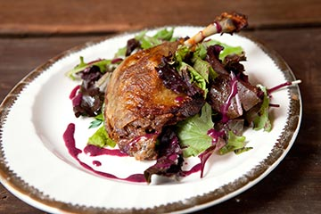 NoBL, in Lansdowne, is an exciting new participant of Fall Main Line Restaurant Week!  They rock a 3-course, prix-fixe dinner menu for only $20.  Pictured is one of their options: Duck Confit, Organic Baby Greens, Blueberry-Mint Vinaigrette.