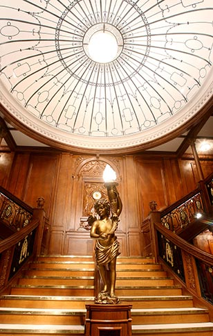 The breathtaking recreation of the ship's grand staircase is part of the exhibition.