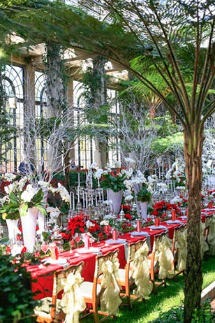 Floral Beauty at Every Turn! Inside Longwood's 4-acre heated Conservatory are 10,000 seasonal plants, including poinsettias accented with amaryllis, lilies, begonias, cyclamen, and hydrangea.