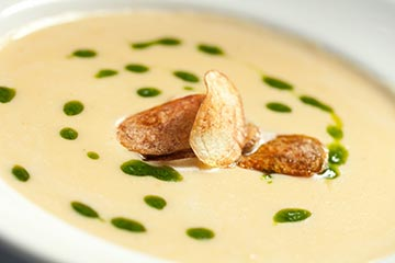 Potato and Leek Soup with Garlic Chive Oil and Crisp Fingerlings. A new yummy addition to King of Prussia's The Capital Grille's 3-course winter plates menu.  Available Monday through Friday for only $18!