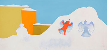 """Ezra Jack Keats, """"So he made a smiling snowman, and he made angels."""" Final illustration for The Snowy Day, 1960. Collage and paint on board.  Ezra Jack Keats papers, de Grummond Children's Literature Collection, McCain Library and Archives, The University of Southern Mississippi.  Copyright Ezra Jack Keats Foundation"""