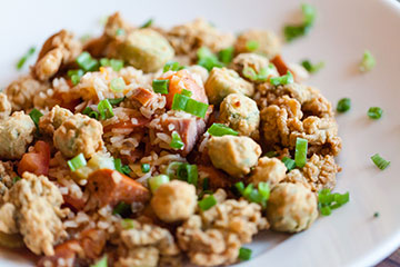 Part of the great Oyster Festival menu: Oysters Jambalaya with crispy fried oysters and jambalaya rice!